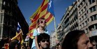 Акции в Барселоне в поддержку референдума о независимости Каталонии. Архивное фото.