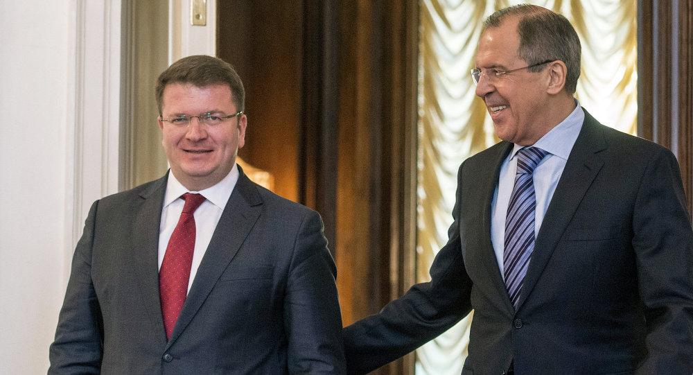 Встреча глав МИД РФ и Южной Осетии С.Лаврова и Д.Санакоева