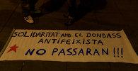 Антифашисты в Барселоне вышли на митинг с плакатами в поддержку Донбасса