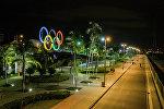 Олимпийские кольца в Рио-де-Жанейро.