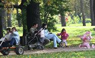 Родители с детьми гуляют в парке