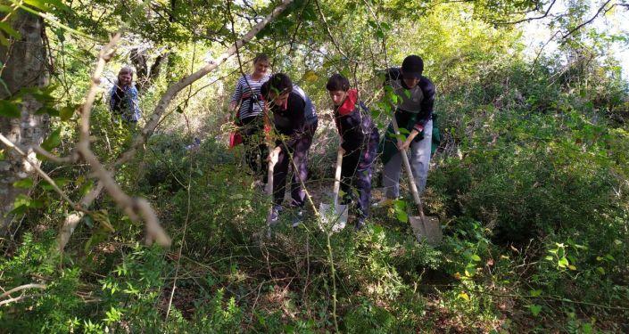 Школьники из Гала приняли участие в раскопках на проекте Тайны Великой Абхазской стены