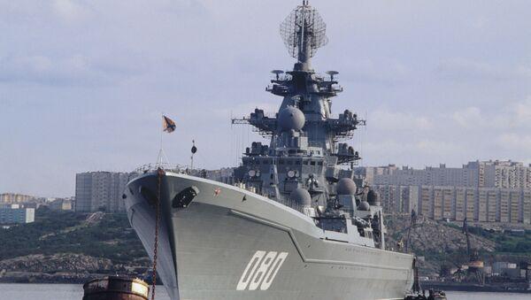 Тяжёлый атомный ракетный крейсер Адмирал Нахимов на базе Северного флота РФ. - Sputnik Абхазия