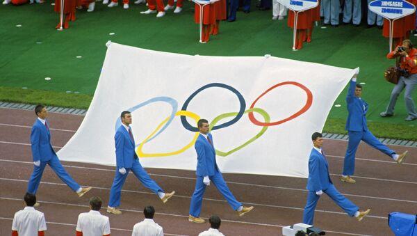 Торжественное открытие Олимпиады-80: внос олимпийского флага. ИГ - Sputnik Аҧсны
