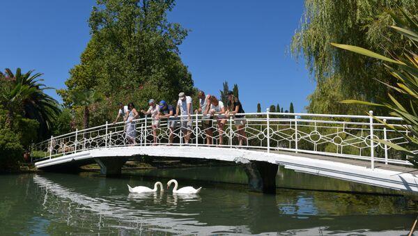 Туристы на одном из мостиков Новоафонского парка  - Sputnik Абхазия