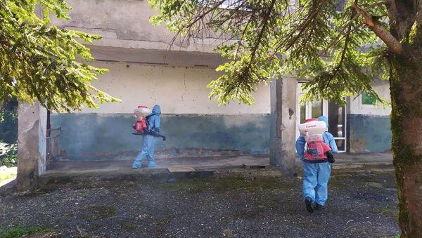 Сотрудники пожарно-спасательной части по охране Очамчырского района провели дезинфекцию в селе Лабра.  - Sputnik Аҧсны