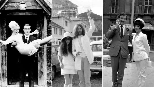 На фото: (слева) Шведская актриса Бритт Экланд с мужем британским актером Питером Селлерсом, 19 февраля 1964 года; (в центре) японская художница Йоко Оно после свадьбы с британским рок-музыкантом и участником группы The Beatles Джоном Ленноном, 20 марта 1969 года; (справа) английская актриса Аманда Барри с мужем актером Робином Хантером, 19 июня 1967 года - Sputnik Абхазия