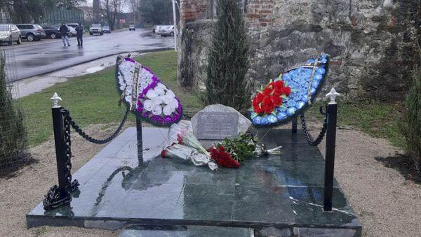 Открытие памятной плиты в честь воинов-афганцев в Пицунде - Sputnik Абхазия