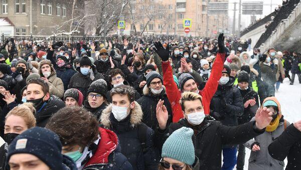 Участники несанкционированной акции сторонников Алексея Навального в Москве. - Sputnik Абхазия