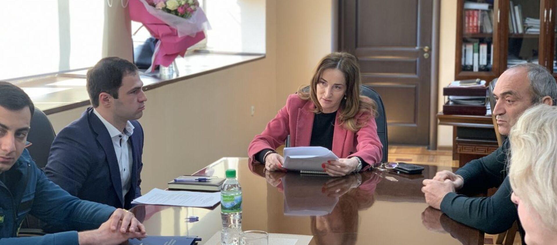 29 марта в Министерстве экономике состоялось совещание по вопросам устранения последствий оползня в городе Новый Афон. - Sputnik Аҧсны, 1920, 30.03.2021