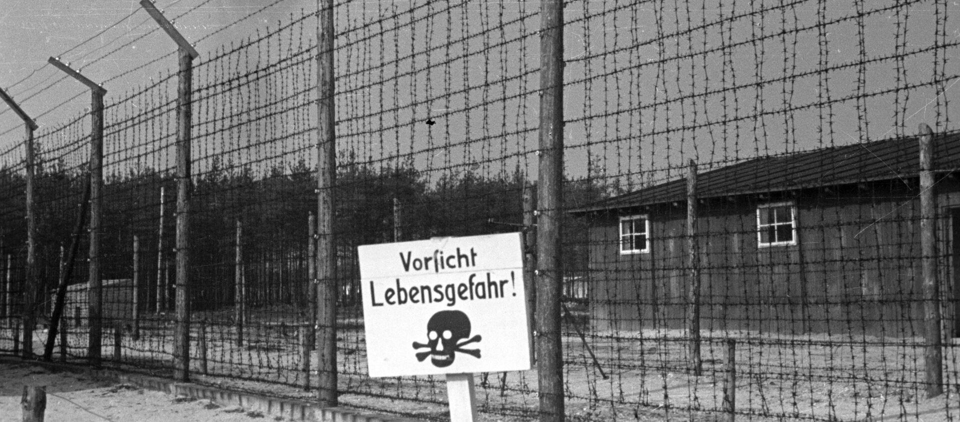 Великая Отечественная война 1941-1945 гг. Проволочное ограждение нацистского концентрационного лагеря Майданек, лагеря смерти Третьего рейха на окраине польского города Люблин. - Sputnik Абхазия, 1920, 10.05.2021
