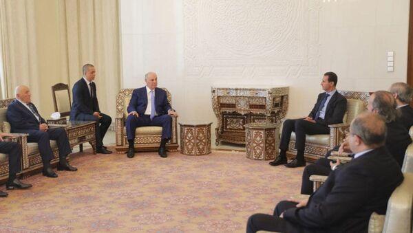 Официальная встреча Президентов Республики Абхазия и Сирийской Арабской Республики Аслана Бжания и Башара Аль-Асада - Sputnik Аҧсны