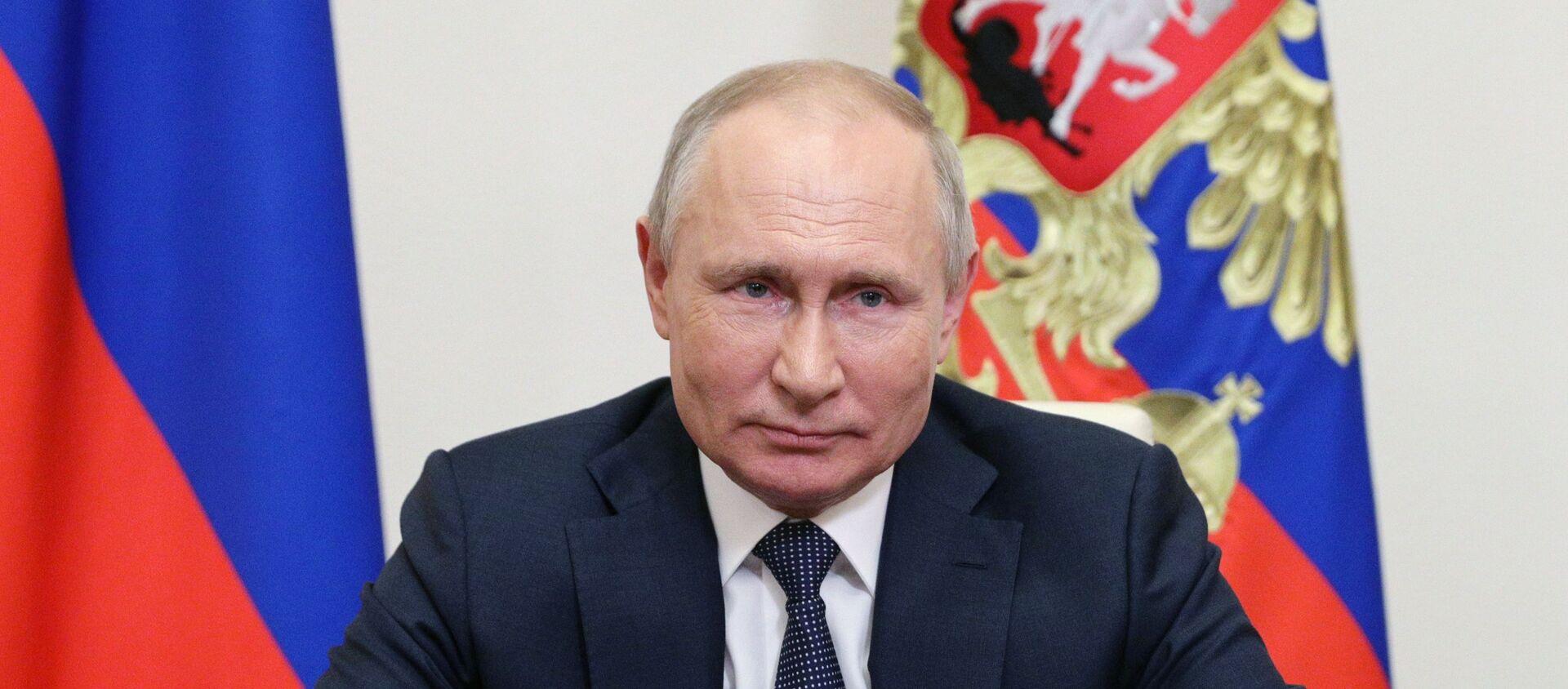 Президент РФ В. Путин выступил с обращением к участникам онлайн - форума Новое знание - Sputnik Абхазия, 1920, 14.06.2021