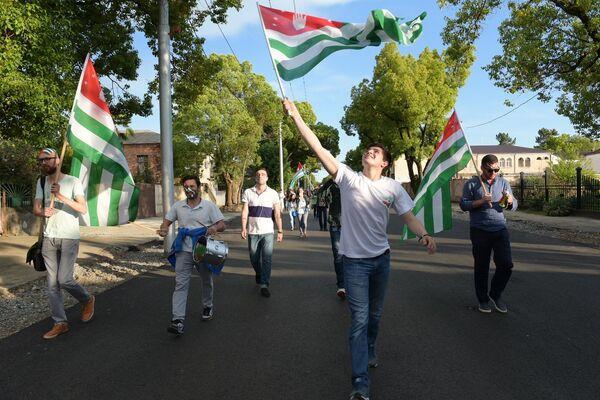 На решающую игру турнира болельщики сборной Абхазии подготовились основательно.    - Sputnik Аҧсны