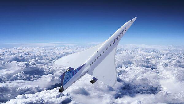 На этом недатированном художественном рендере, выпущенном Boom Supersonic, изображен сверхзвуковой самолет компании с логотипом United Airlines. - Sputnik Абхазия