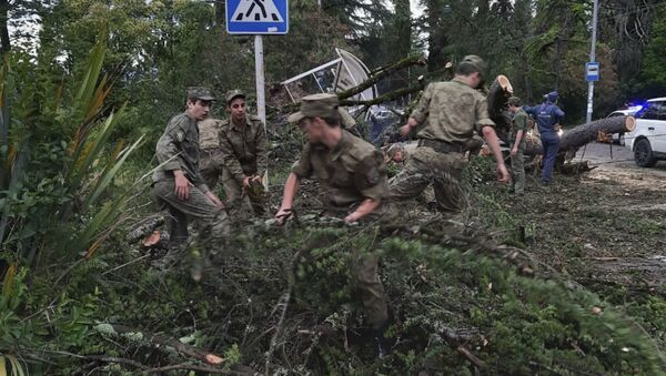 Военнослужащие Министерства обороны принимают участие в ликвидации последствий стихии - Sputnik Аҧсны