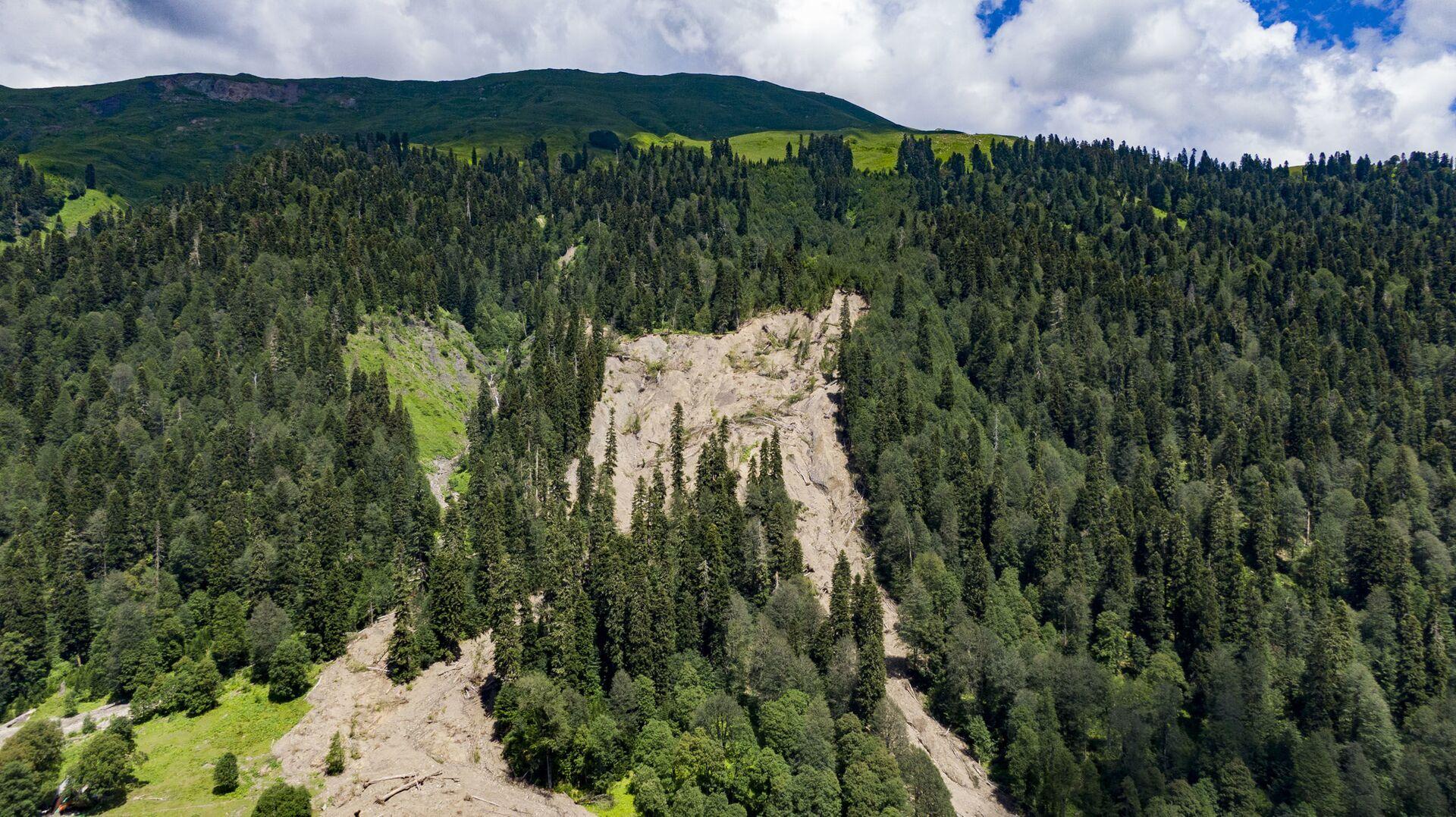 Оползневой участок  в горах Абхазии  - Sputnik Абхазия, 1920, 12.10.2021