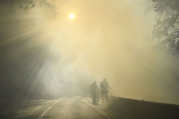 Пожарные тушат пламя лесного пожара возле Гонфарона, на юго-востоке Франции - Sputnik Абхазия