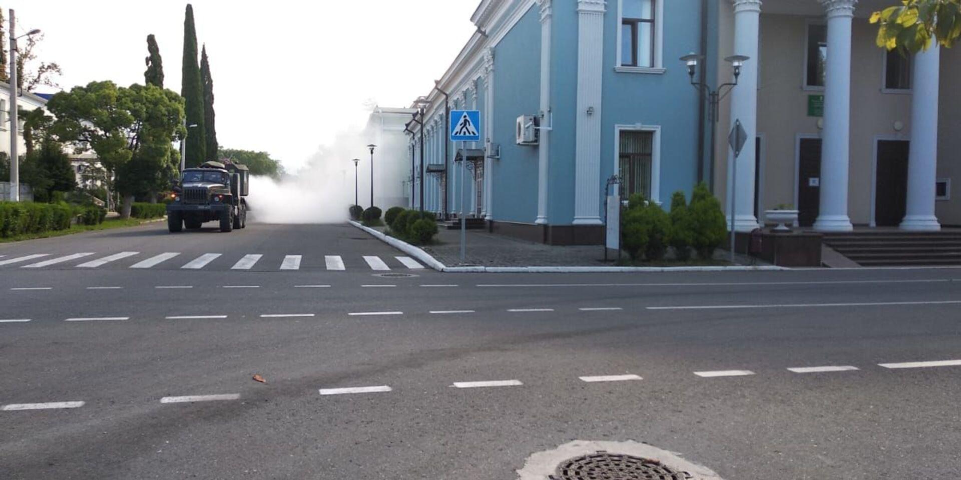 Специалисты РХБ защиты ЮВО продезинфицировали около 120 тысяч кв. м социальной инфраструктуры в Гудауте - Sputnik Абхазия, 1920, 12.10.2021
