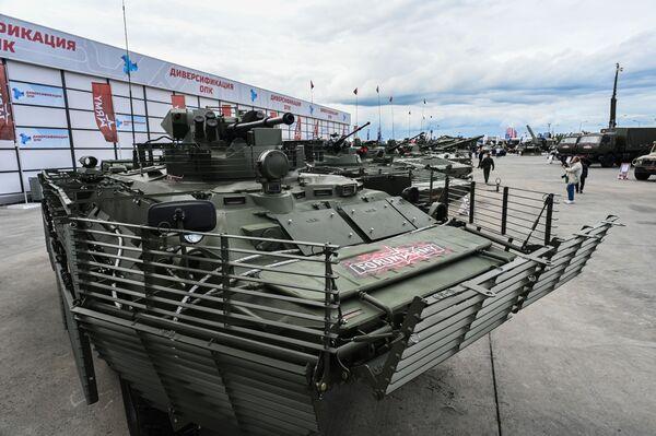 Бронетранспортер БТР-82А на выставке вооружений международного военно-технического форума Армия-2021 в военно-патриотическом парке Патриот в подмосковной Кубинке. - Sputnik Абхазия