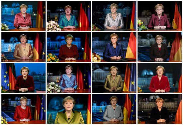 Коллаж снимков Меркель после различных телевизионных записей ее ежегодной новогодней речи в канцелярии. - Sputnik Абхазия