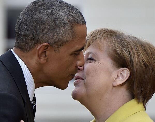 Канцлер Германии Ангела Меркель и президент США Барак Обама во время встречи в Ганновере. - Sputnik Абхазия