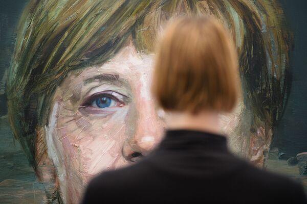Портрет Ангелы Меркель Колина Дэвидсона на Лондонской художественной ярмарке. - Sputnik Абхазия