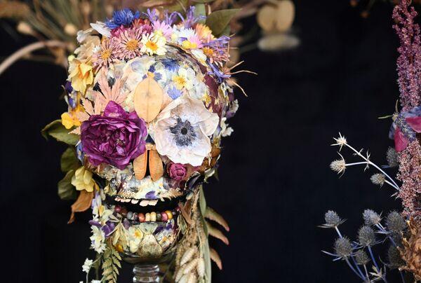 Дизайн из засушенных цветов в форме черепа на выставке RHS Chelsea Flower Show в Лондоне. - Sputnik Абхазия