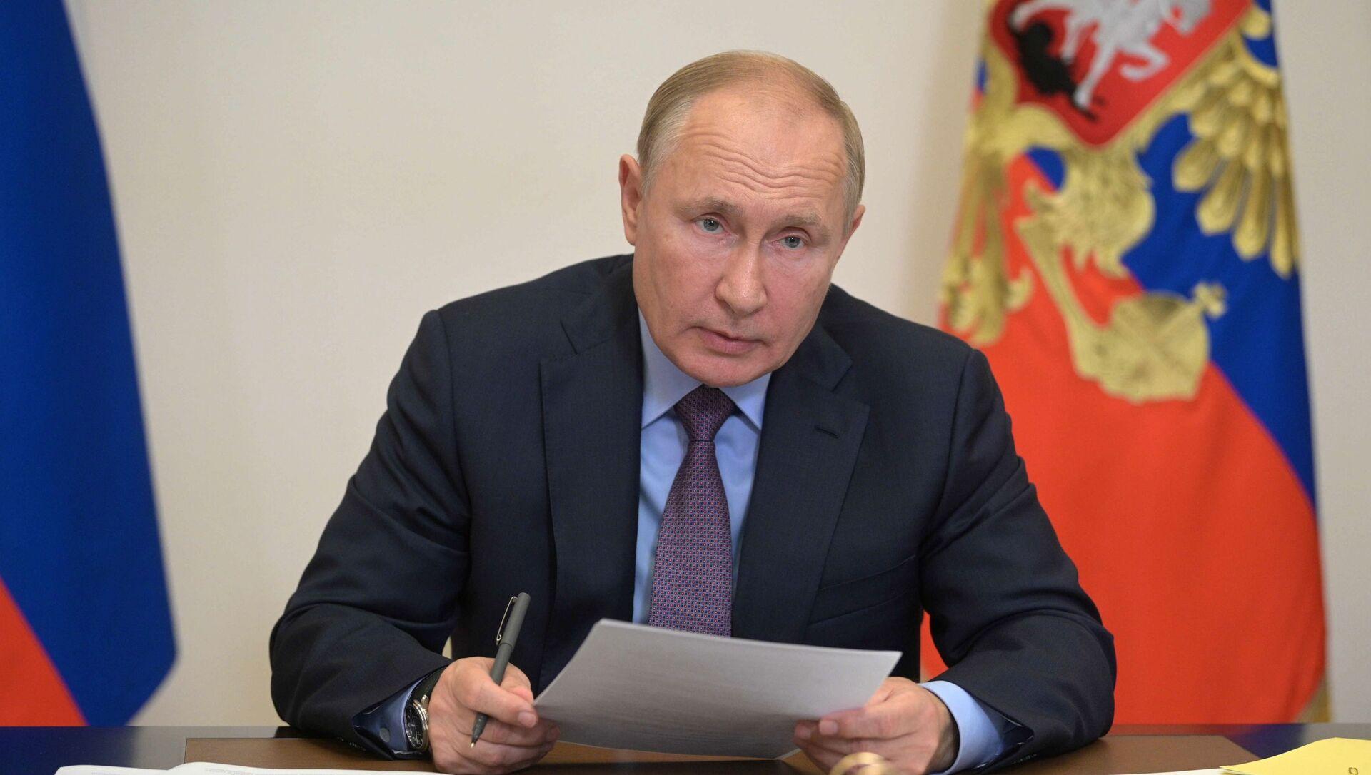 Президент РФ В. Путин провел совещание с членами правительства РФ и руководством партии Единая Россия - Sputnik Абхазия, 1920, 25.09.2021