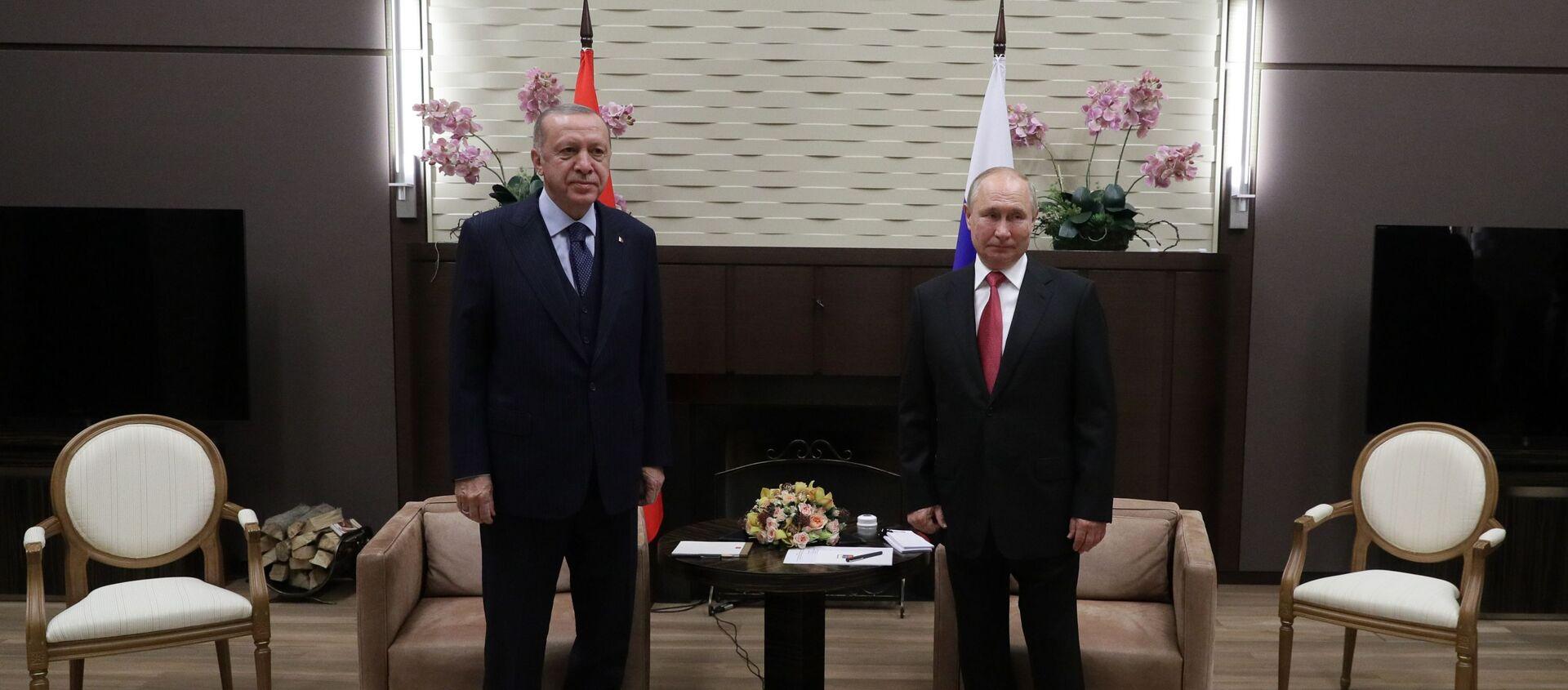 Президент РФ В. Путин провел переговоры с президентом Турции Р. Эрдоганом - Sputnik Абхазия, 1920, 29.09.2021