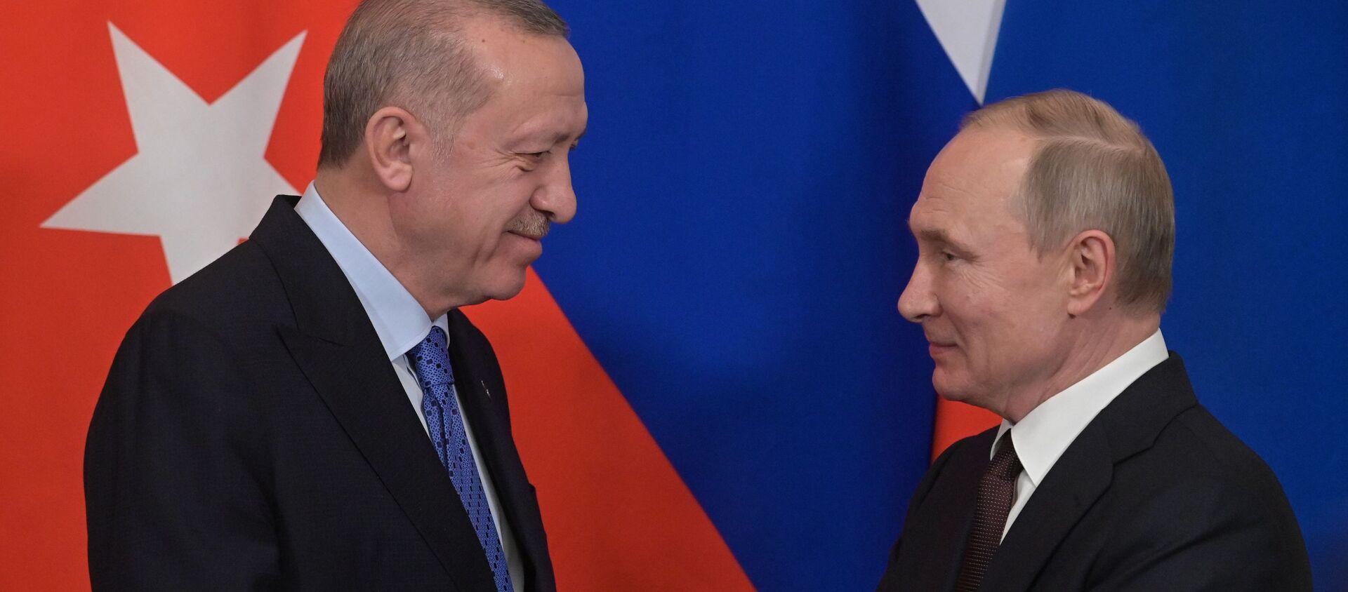 Президент РФ В. Путин встретился с президентом Турции Р. Эрдоганом - Sputnik Абхазия, 1920, 30.09.2021