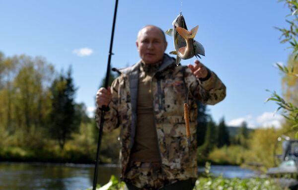 Сентябрь 2021. Путин во время рыбалки в тайге. В начале сентября, по окончании рабочей поездки в Приморье и Амурскую область, Владимир Путин на несколько дней сделал остановку в Сибири, где провел краткий отпуск. - Sputnik Абхазия