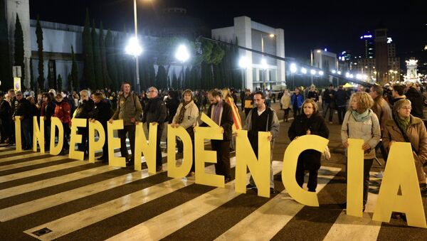 Митинг в поддержку независимости Каталонии в Барселоне. - Sputnik Аҧсны