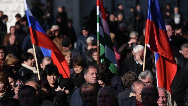 Митинг в поддержку подписания договора с РФ. - Sputnik Аҧсны