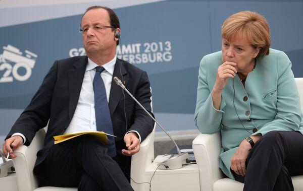 Президент Франции Франсуа Олланд и Федеральный канцлер Германии Ангела Меркель. Архивное фото. - Sputnik Абхазия