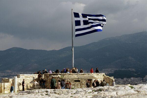Греческий флаг на смотровой площадке Акрополя - Sputnik Абхазия
