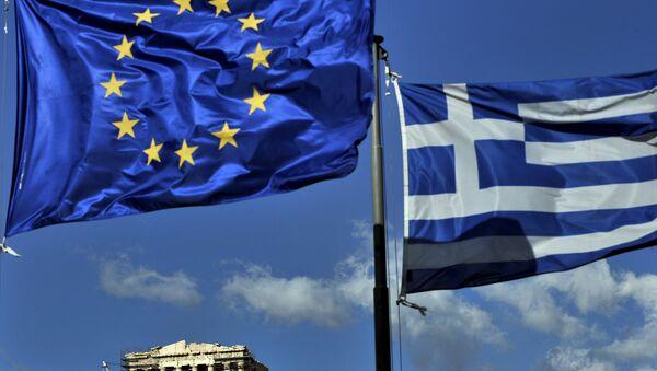 Флаг Греции и ЕС. Архивное фото. - Sputnik Абхазия