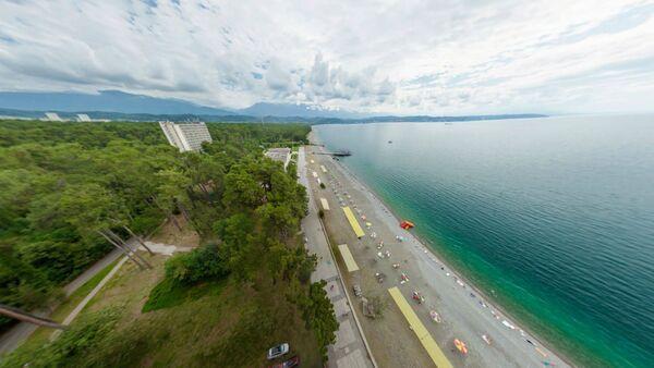 Виртуальная Абхазия. Вид на пляж Пицунды. - Sputnik Абхазия