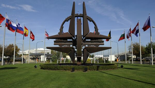 The NATO emblem is seen before a defence ministers meeting at the NATO headquarters in Brussels on October 22, 2013 - Sputnik Абхазия