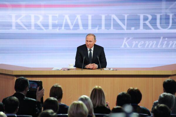 Одиннадцатая ежегодная большая пресс-конференция президента России Владимира Путина - Sputnik Абхазия