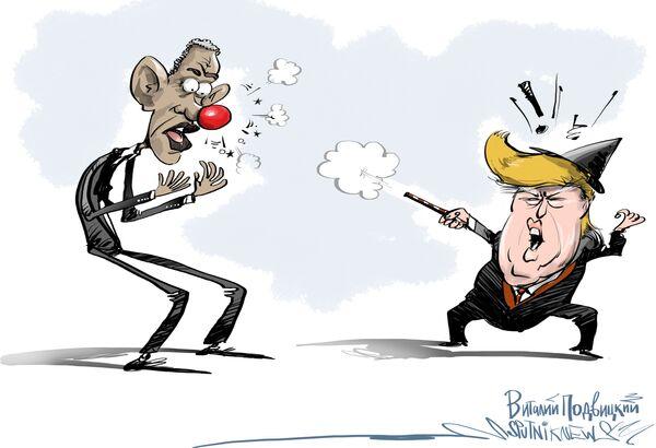Кандидат в президенты от республиканской партии миллиардер Дональд Трамп в ответ на нападки Обамы в свой адрес раскритиковал действующего президента за провалы в политике. - Sputnik Абхазия