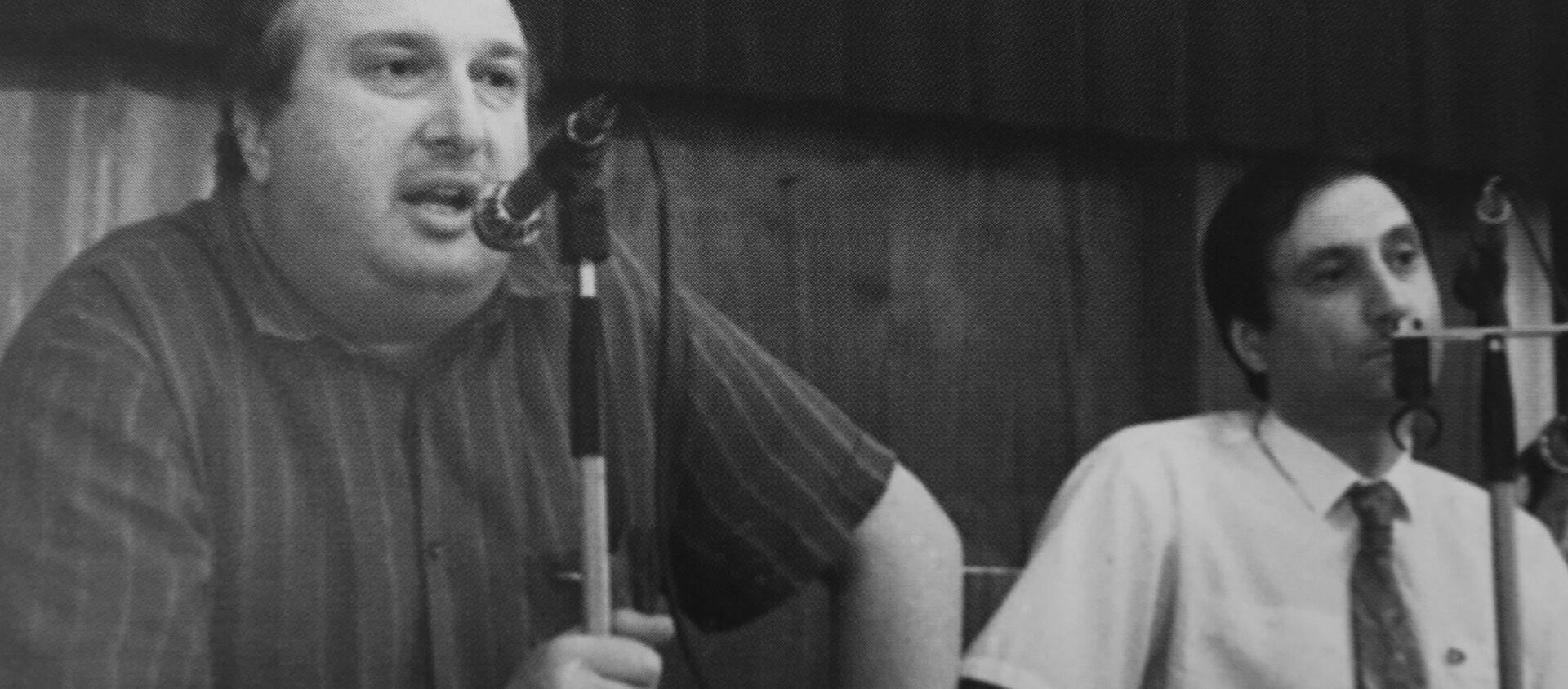 Депутаты Зураб Ачба и Сергей Шамба на пресс-конференции. Архивное фото. - Sputnik Абхазия, 1920, 23.02.2016