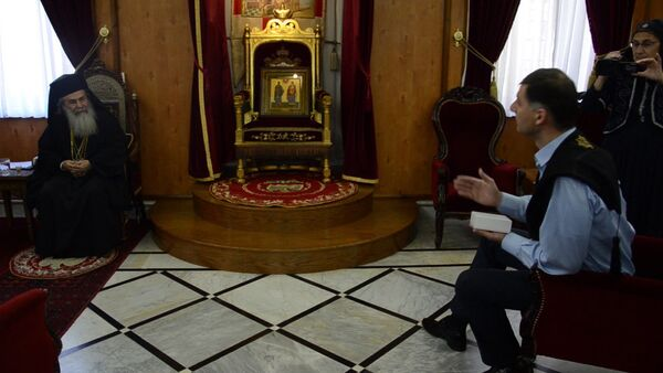 Абхазские паломники встретились с патриархом Иерусалимским - Sputnik Абхазия