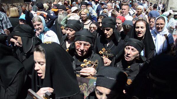 Паломники из Абхазии прошли Крестным ходом к Голгофе - Sputnik Абхазия