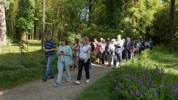 Туристы в ботаническом саду - Sputnik Абхазия