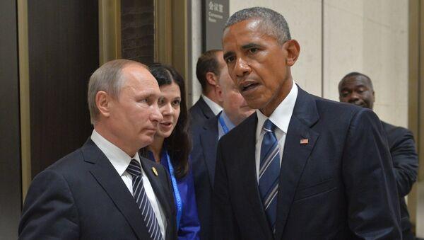 5 сентября 2016. Президент РФ Владимир Путин (слева) и президент США Барак Обама во время встречи в Ханчжоу - Sputnik Абхазия
