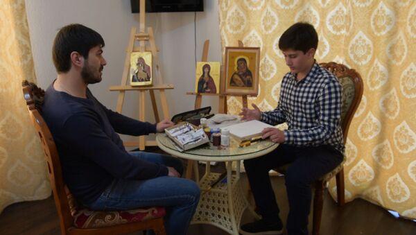 Четырнадцатилетний иконописец: Давид Джения показал, как работает над образами - Sputnik Абхазия