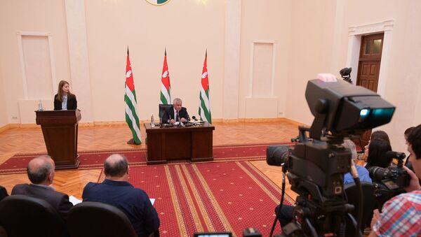 Пресс-конференция президента Рауля Хаджимба - Sputnik Абхазия
