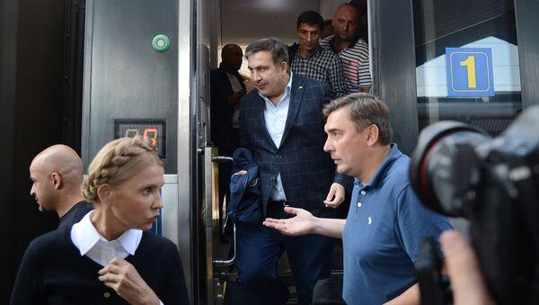 Экс-президент Грузии, бывший губернатор Одесской области Михаил Саакашвили на железнодорожном вокзале в польском Пшемышле - Sputnik Абхазия
