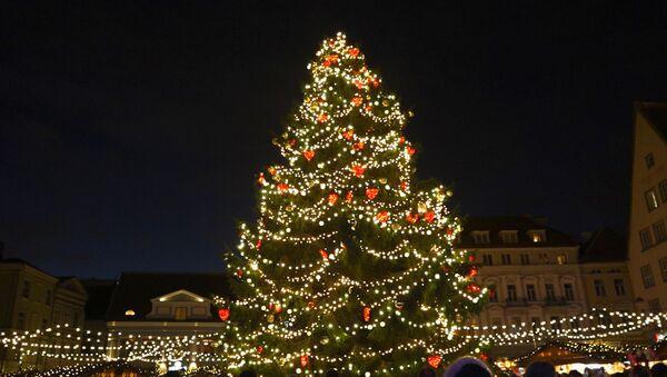 В Таллинне на Ратушной площади зажгли огни рождественской ели - Sputnik Абхазия